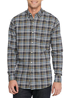 Saddlebred Long Sleeve Tailored Plaid Oxford Shirt