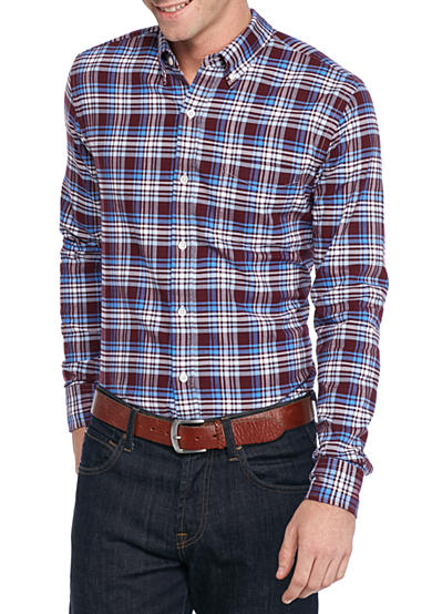 Saddlebred® Long Sleeve Tailored Plaid Oxford Shirt