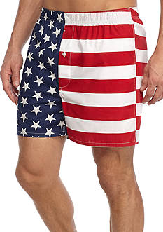 Saddlebred American Flag Print Woven Boxers