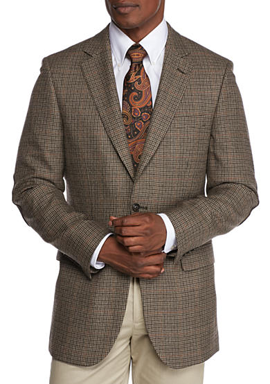 Saddlebred® Brown Houndstooth Lambswool Sport Coat