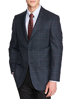 Saddlebred Classic Fit Blue Multi Houndstooth Lambswool Sport Coat