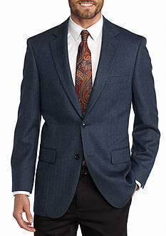 Saddlebred Classic-Fit Blue Herringbone Sport Coat