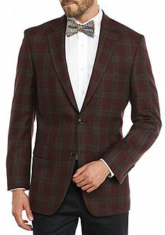 Saddlebred Classic-Fit Burgundy Plaid Sport Coat