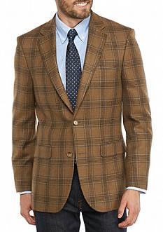 Saddlebred Classic-Fit Camel Plaid Sport Coat