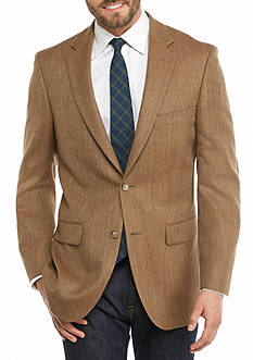 Saddlebred Classic-Fit Camel Herringbone Sport Coat