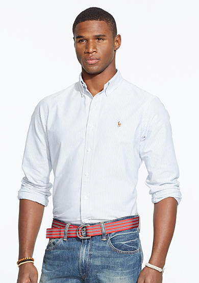 Polo ralph lauren multi striped oxford shirt belk for Polo ralph lauren casual button down shirts