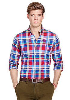 Polo Ralph Lauren Slim-Fit Plaid Stretch-Oxford Shirt