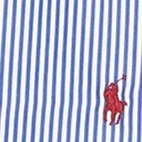 Blue Mens Designer Clothing: Blue Striped Poplin Sport Shirt