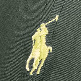 Red Designer Hats for Men: Alpine Green Polo Ralph Lauren Cotton-Blend Baseline Cap