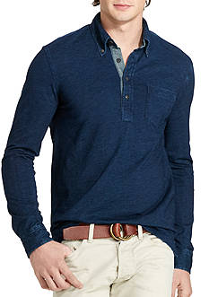 Polo Ralph Lauren Indigo Cotton Jersey Popover Shirt