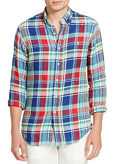 Polo Ralph Lauren Plaid Linen Sport Shirt