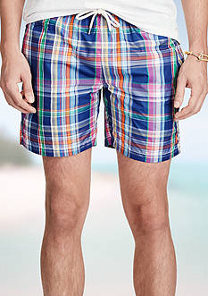 Polo Ralph Lauren 5.75-in.Plaid Swim Trunks