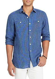 Polo Ralph Lauren Standard Fit Striped Indigo Linen Workshirt