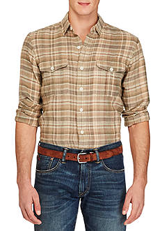 Polo Ralph Lauren Plaid Linen Military Shirt
