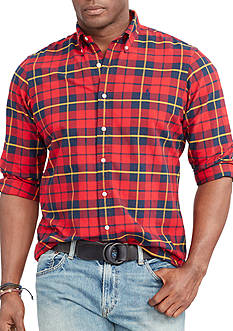 Polo Ralph Lauren Big & Tall Plaid Cotton Oxford Sport Shirt