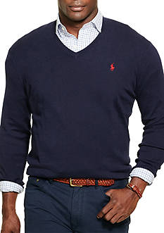 Polo Ralph Lauren Big & Tall Pima Cotton V-Neck Sweater