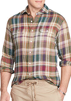 Polo Ralph Lauren Big & Tall Plaid Linen Workshirt