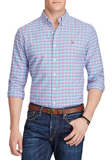 Polo ralph lauren big tall plaid cotton oxford shirt belk for Big and tall oxford shirts