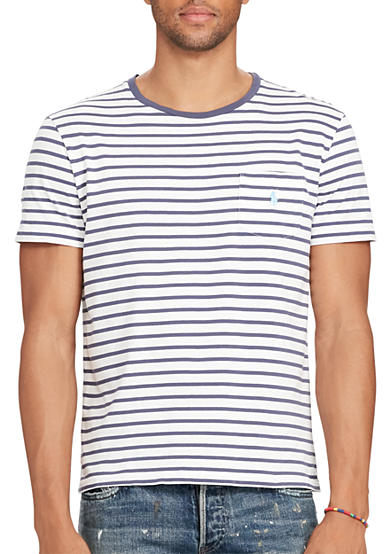 Polo ralph lauren big tall striped cotton pocket t shirt for Big and tall polo shirts with pockets