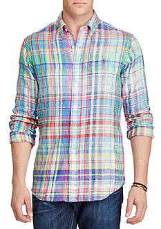 Polo Ralph Lauren Big & Tall Classic Fit Plaid Linen Shirt