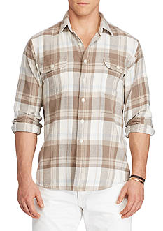 Polo Ralph Lauren Big & Tall Plaid Cotton Western Shirt