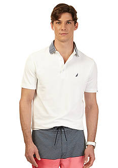 Nautica Short Sleeve Striped Collar Performance Deck Polo Shirt