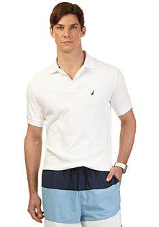 Nautica Short Sleeve Solid Interlock Polo Shirt
