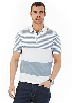 Nautica Slim-Fit Short Sleeve Engineered Striped Polo Shirt