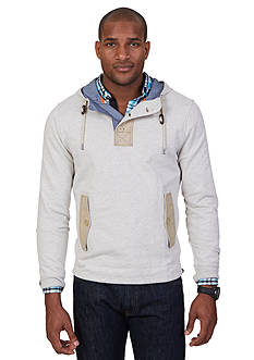 Nautica Long Sleeve Mix Media Pullover Hoodie