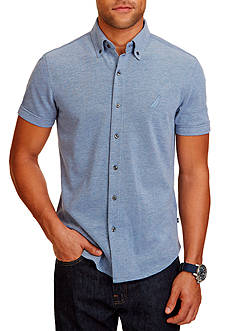 Nautica Slim Fit Oxford Pique Short Sleeve Shirt