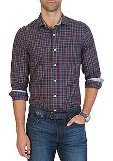 Nautica Big & Tall Wrinkle Resistant Navy Plaid Shirt