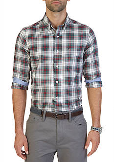 Nautica Big & Tall Wrinkle Resistant Whitecap Plaid Shirt