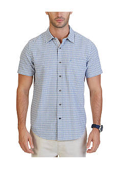 Nautica Big & Tall Indigo Plaid Short Sleeve Shirt