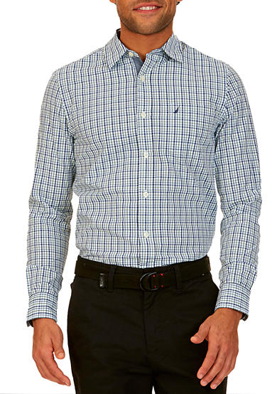 Nautica big tall cobalt plaid short sleeve shirt belk for Big and tall casual shirts