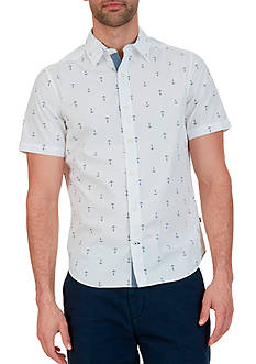 Nautica Big & Tall Anchor Print Short Sleeve Shirt