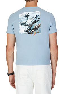 Nautica Big & Tall Distressed War Ship Graphic T-Shirt