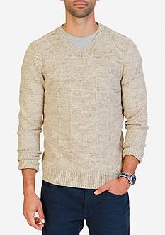 Nautica Multi-Stitched V-Neck Sweater