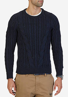 Nautica Mapped Cable-Knit Sweater