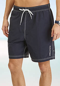 Nautica Solid Nylon Swim Trunks