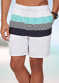 Nautica Quick Dry Striped Swim Trunks