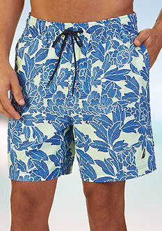 Nautica Quick Dry 17-in. Floral Print Swim Trunks