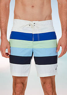 Nautica Quick Dry Color Block Stripe Swim Trunks