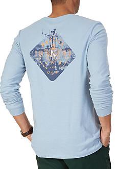 Nautica Diamond Anchor Long Sleeve Graphic Tee