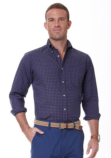 Nautica Long Sleeve Wrinkle Resistant Tartan Plaid Shirt