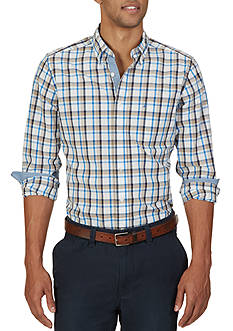 Nautica Classic Fit Oyster Plaid Shirt