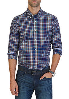 Nautica Classic Fit Wrinkle Resistant Ensign Plaid Shirt