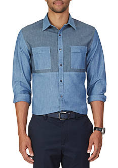 Nautica Slim Fit Pieced Chambray Shirt