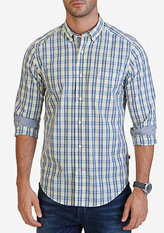 Nautica Classic Fit Blue Indigo Plaid Shirt