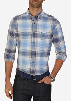 Nautica Classic Fit Indigo Plaid Shirt