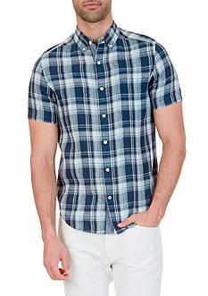Nautica Plaid Linen Short Sleeve Shirt